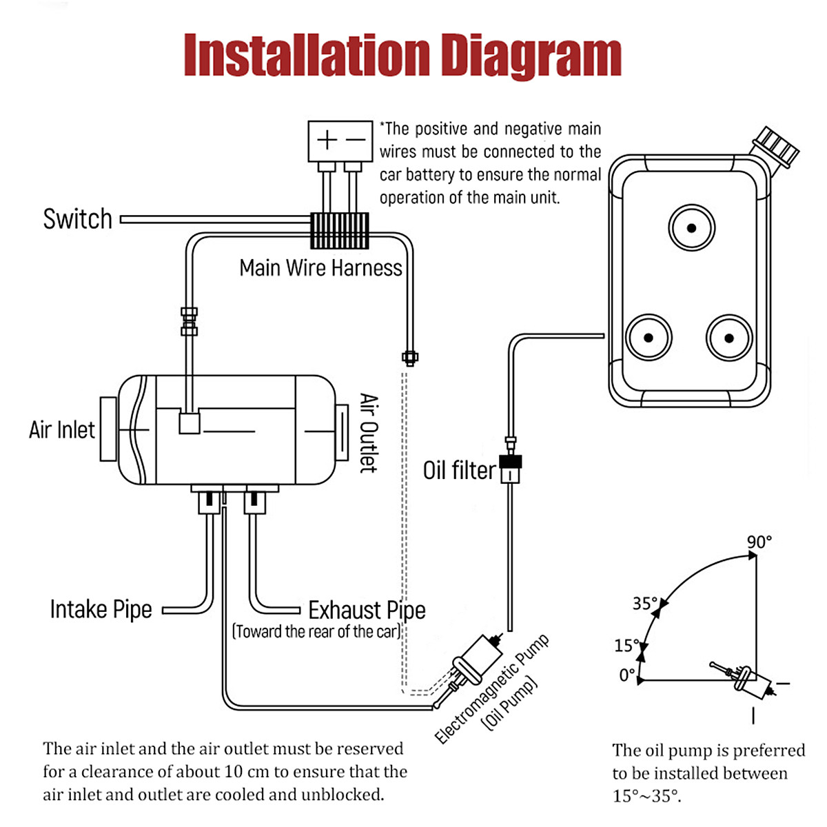 5KW 12V Diesel Air Heater LCD Thermostat with Switch Remote Control Silencer For Motorhome Boat