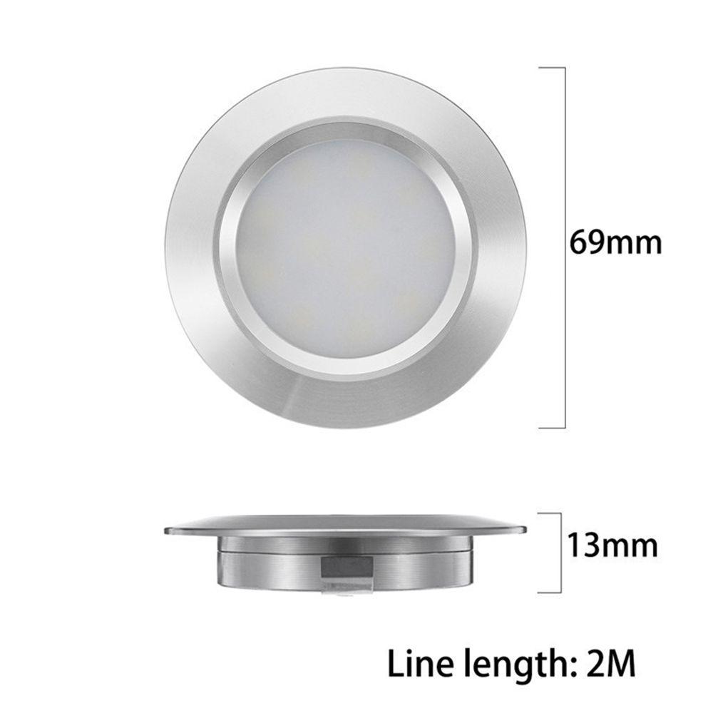 6 Pcs Silver Interior RV Marine LED Recessed Ceiling Lights Car Dome Lights Cabinet Light DC12V
