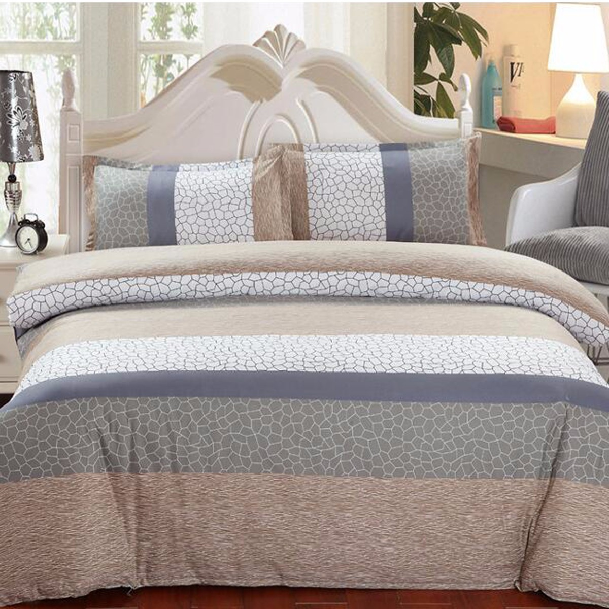 1.5m/1.8m 4 pcs Cotton Bedding Set Pillowcase Quilt Duvet Cover Flat Sheet Elegent Noble Bedding