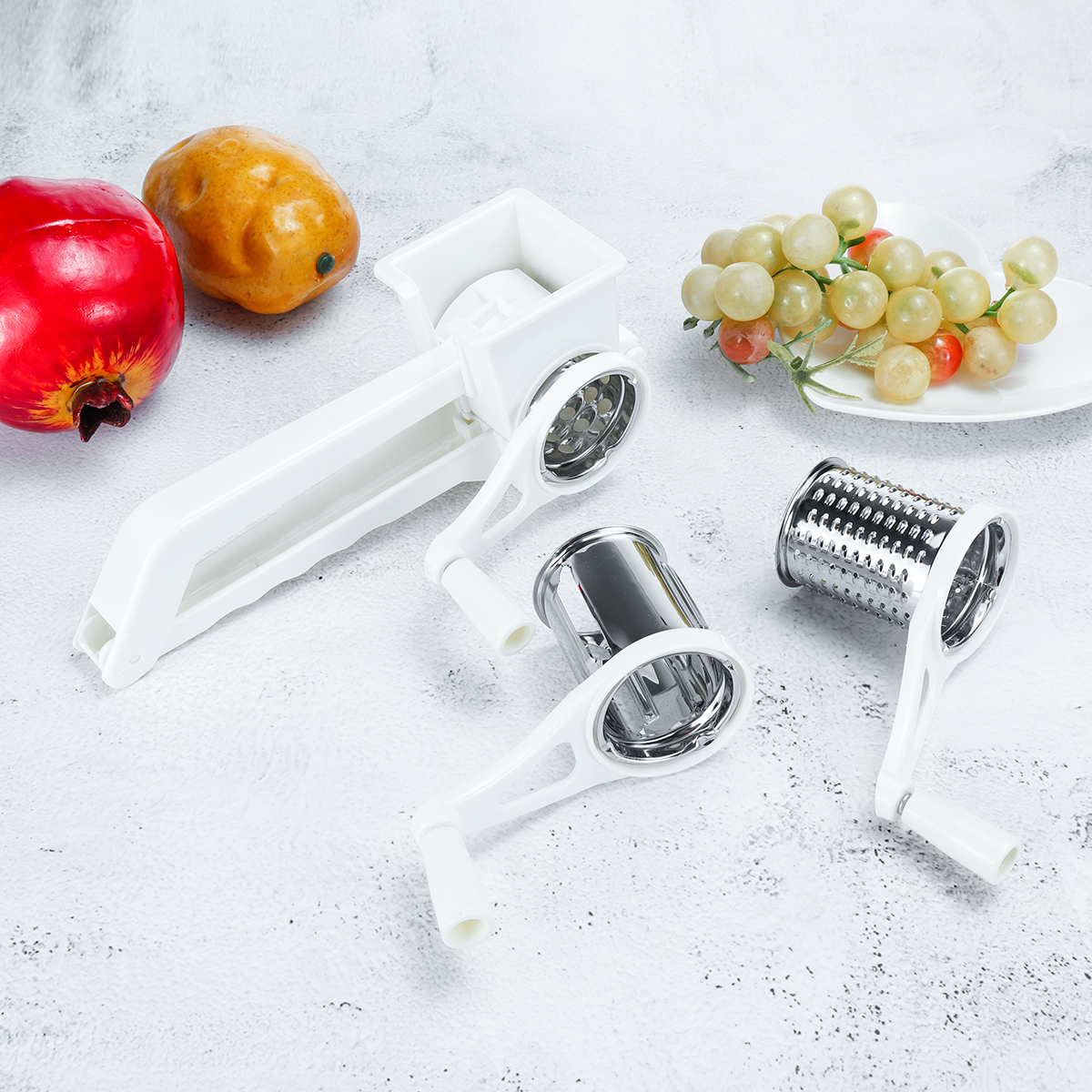 3 In 1 Manual Cheese Grater Rotary Grater Butter Vegetable Fruit Slicer Cutter Kitchen