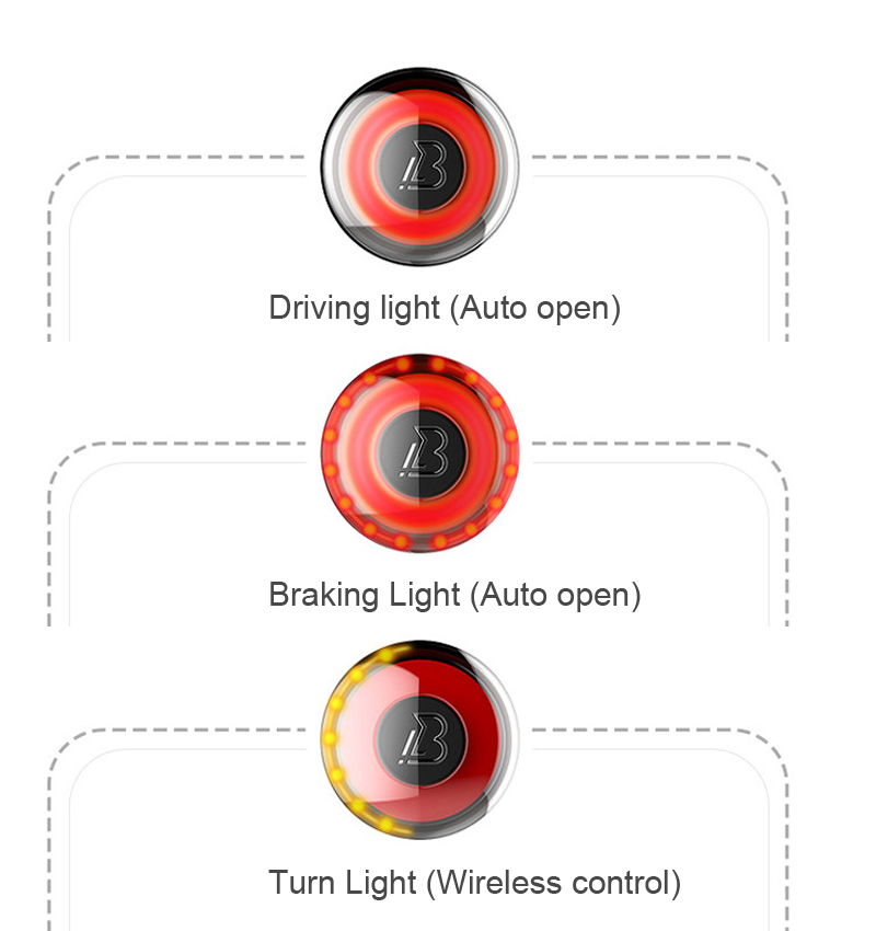XANEL STL08 Smart Sensor APP Wireless Control IPX5 Waterproof Cycling Bike Tail Light Anti-theft Turn Signal Brake Warning