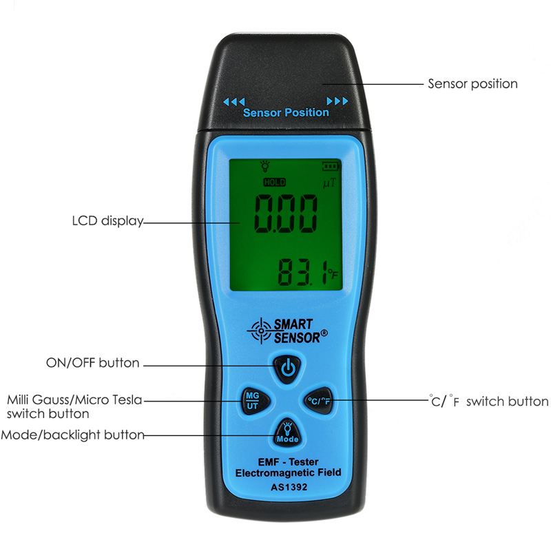 SMART SENSOR AS1392 Handheld Digital LCD Mini Radiation Dosimeter EMF Tester Electromagnetic Field Radiation Detector