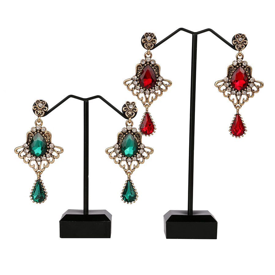 Ethnic Tassel Earring Openwork Drop-shaped Ruby Glass