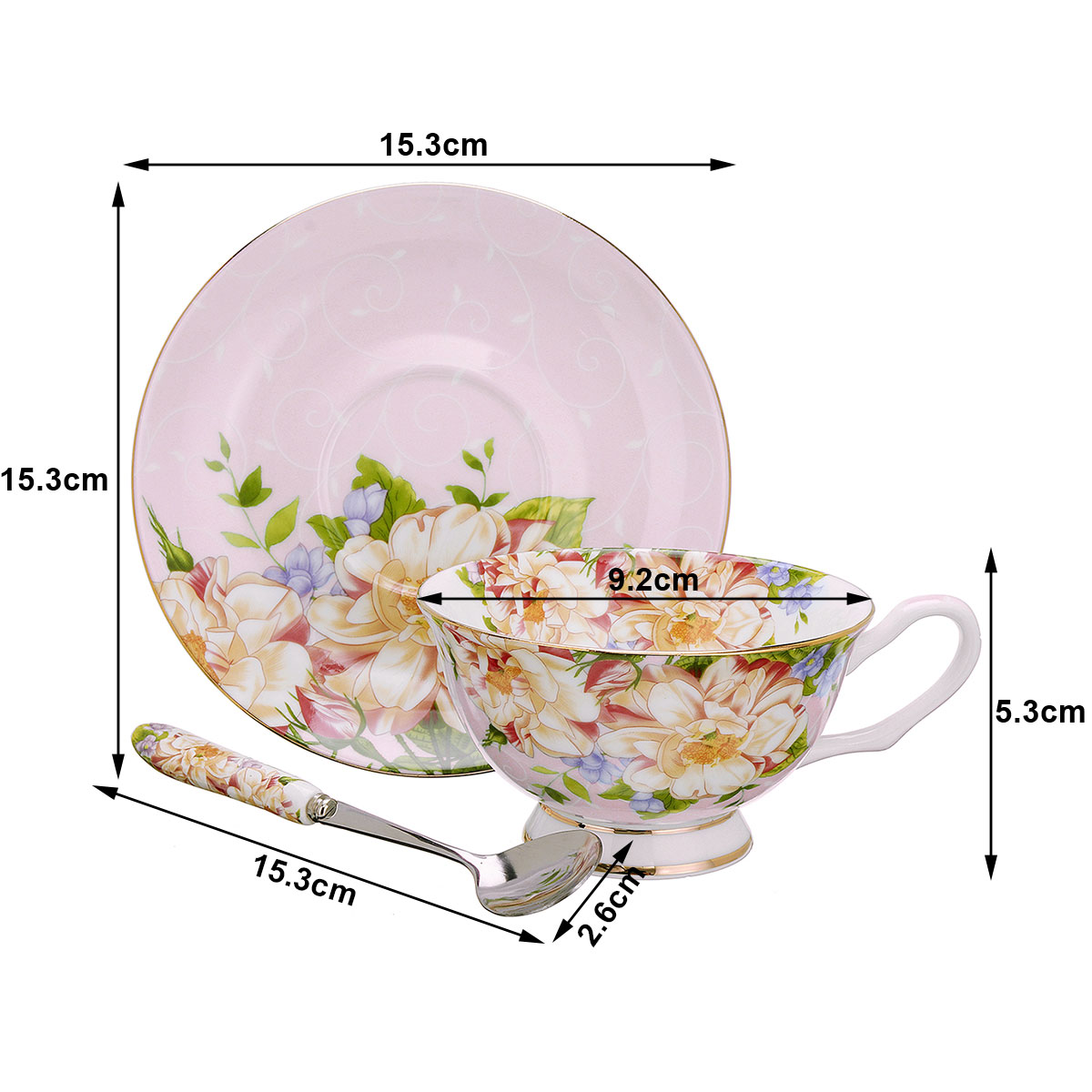 3Pcs/Set Fashion British Bone China Coffee Cup Saucer Spoon For Home Office