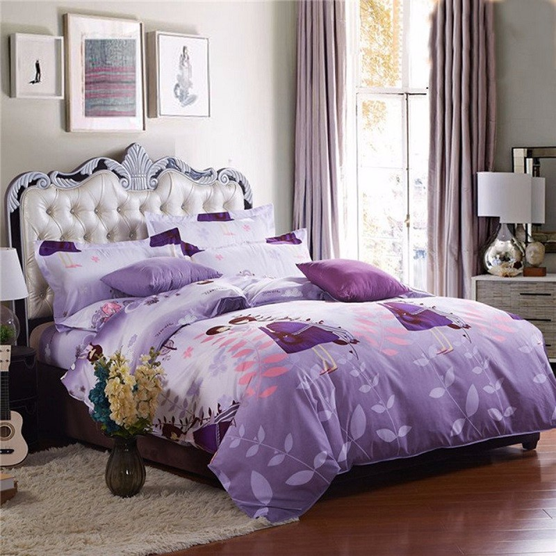 3 or 4pcs Suit Lover Printed Reactive Dyeing Polyester Fiber Bedding Sets Twin full Queen Size