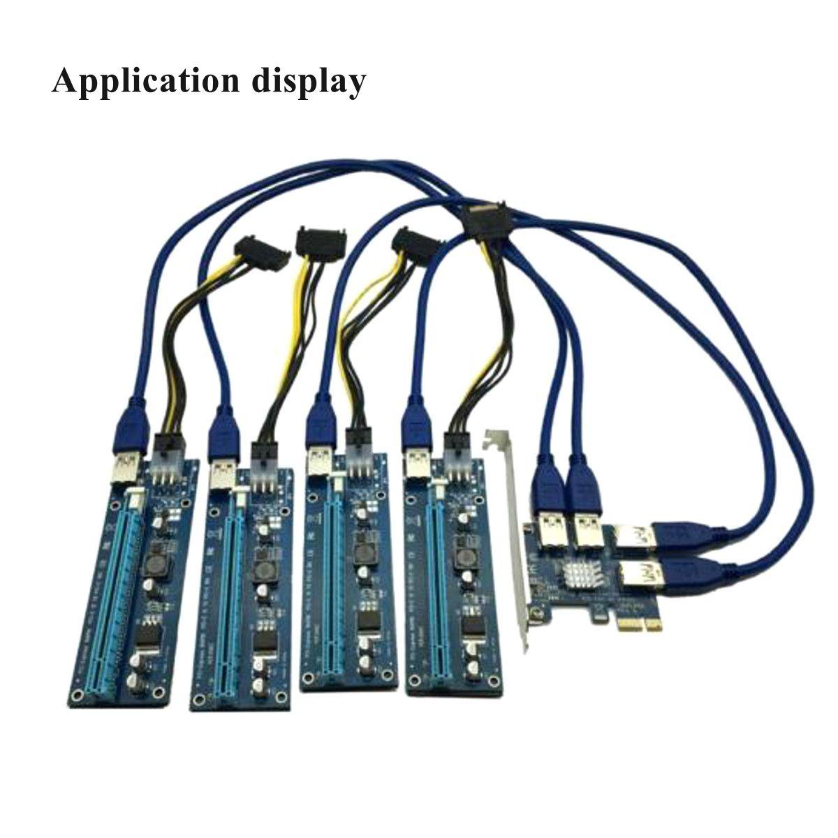 PCI-E to 4 port USB3.0 Express X1 Riser Card Converter Adatper ETH Mining Card