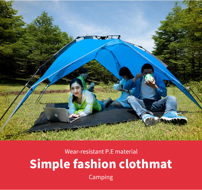 3 Persons Outdoor Picnic Automatic Tent Mat Family Camping Mat PE Fabrics Dampproof and Waterproof Camp Mat Special Cloth Wear-resistant Picnic Mat