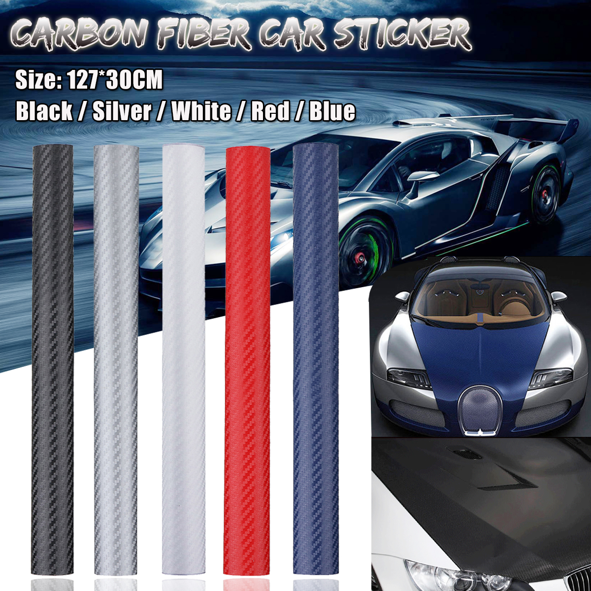 127x30cm 3D Carbon Fiber Vinyl Waterproof Car Wrap Sheet Roll Film DIY Sticker for Car Motorcycle