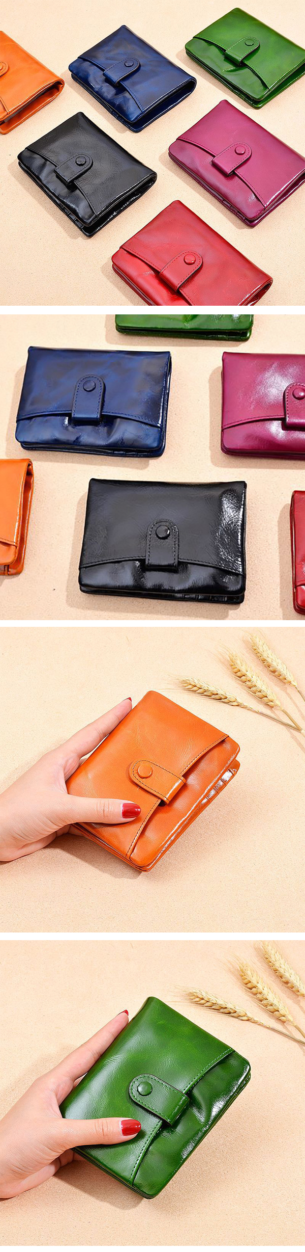 Women Genuine Leather Solid Wallet Card Holder