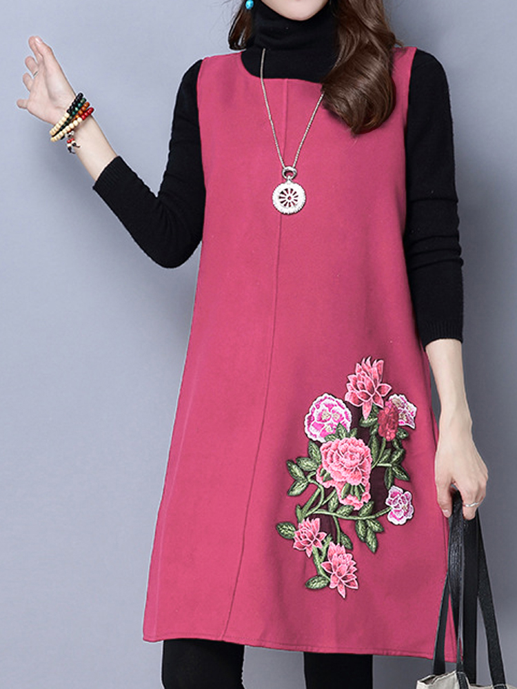 Vintage Women Embroidery Sleeveless Woolen Vest Dress