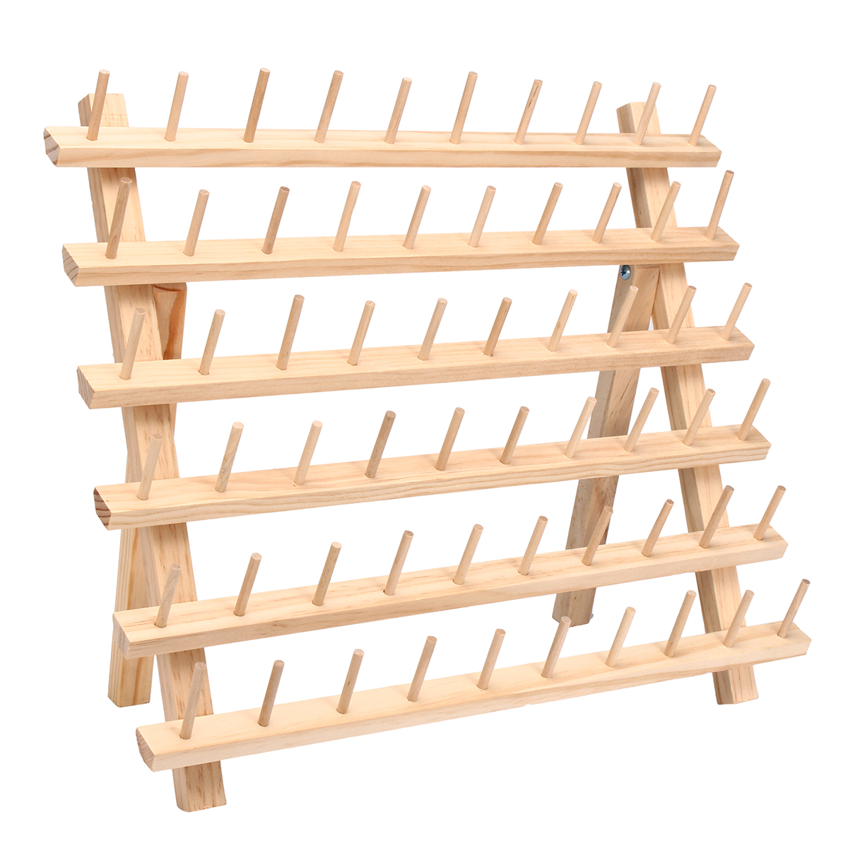 60 Spools Sewing Thread Rack Embroidery Storage Wooden Holder Cones Stand Shelf Needlework Tool