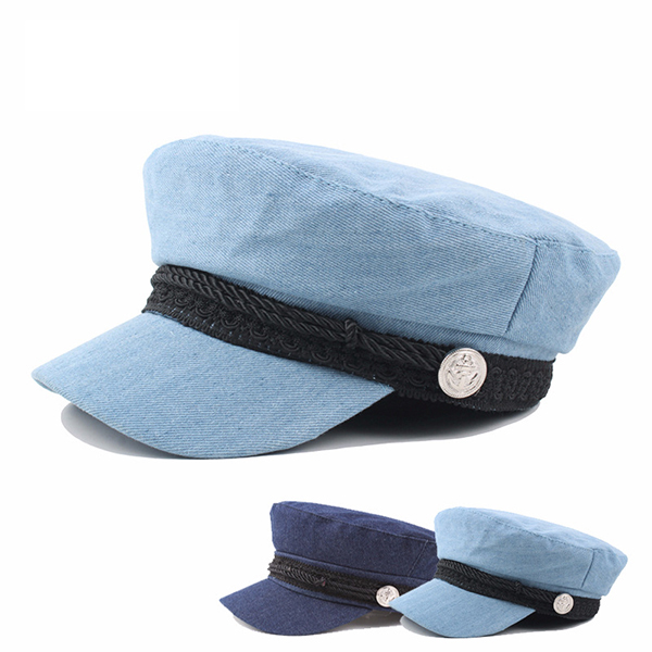 Washed Denim Newsboy Berets Caps Painter Cop Hats