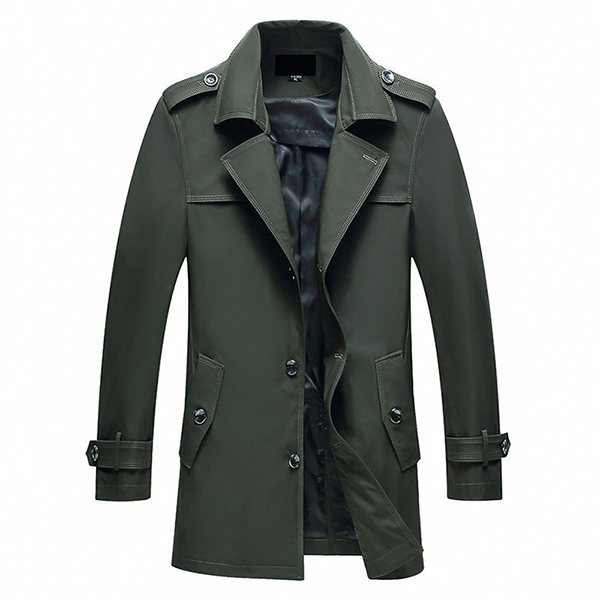 Mens Fall Winter Middle-aged Long Section Casual Jackets Turn-down Collar Trench Coat