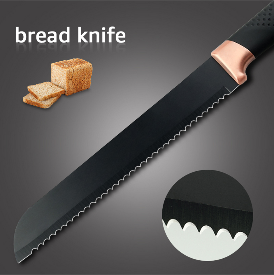 MYVIT Stainless Steel Kitchen Knives Set 3 pcs 5CR15 Japanese Style Chef Knife Bread Knife Meat Cleaver Kitchen Knife Kitchen Accessories
