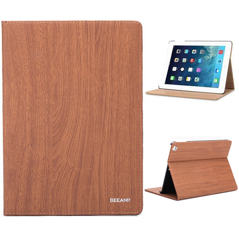 Wood Texture Smart Sleep/Wake Up Bracket Case For iPad Mini 1/2/3