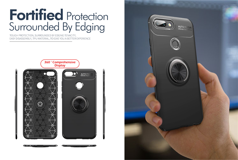 Bakeey™ Shockproof Thin Back Cover Protective Case with Finger Ring Holder for Xiaomi Mi8 Lite