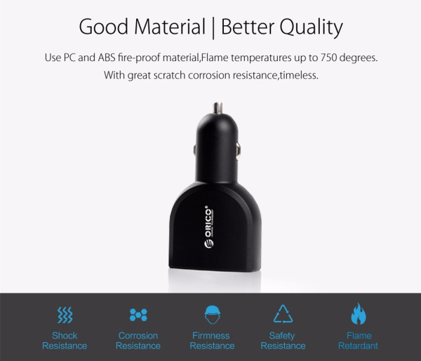 ORICO UCA-4U 4 Port USB Car Charger 5V2.4A*2/5V1A*2 for iPad iPhone Android Black White
