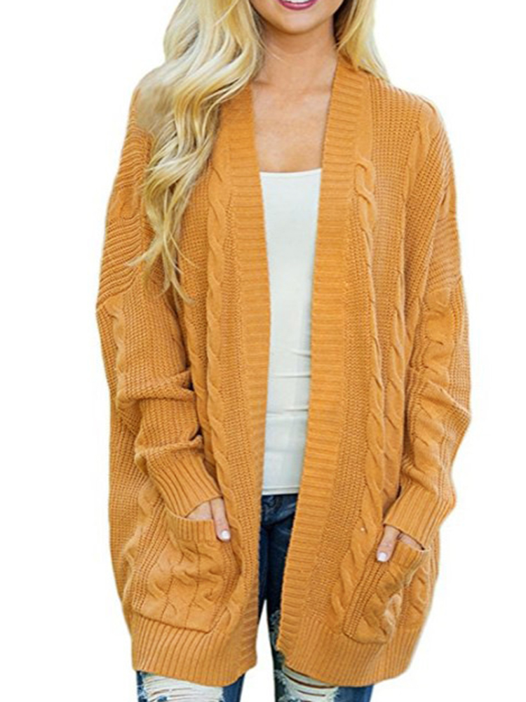 Women Casual Long Sleeve Solid Color Knit Cardigans Sweater