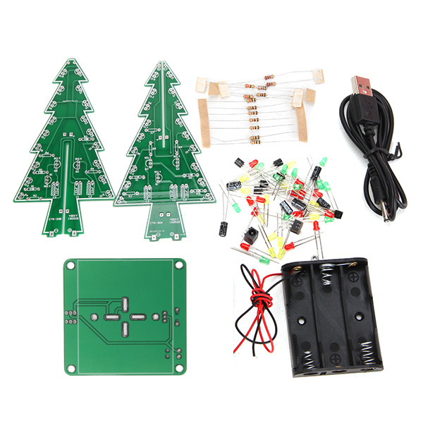 3Pcs Geekcreit® DIY Christmas Tree LED Flash Kit 3D Electronic Learning Kit