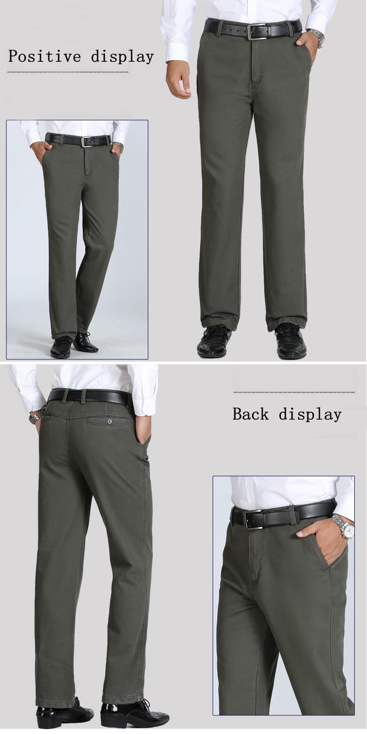 Thick Fleece Casual Dress Pants Warm Solid Color Pants