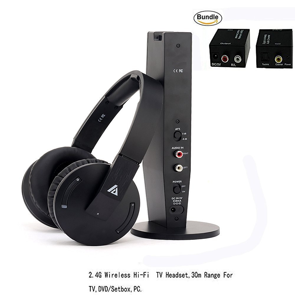 Artiste ADH500 2.4G HiFi Stereo Wireless TV Headphone With Digital Output Converter For PC TV