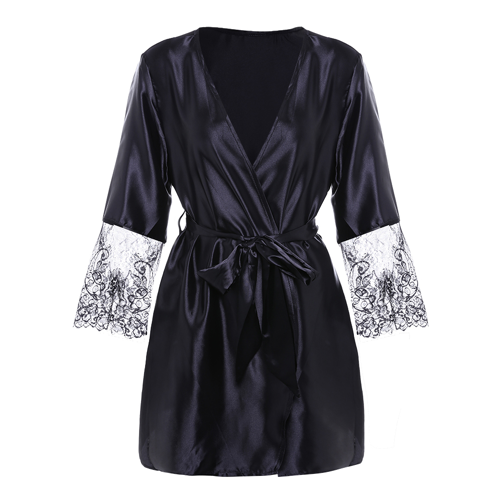 Banggood Sexy Three Quarter Sleeve Lace Stitching V-Neck Belt Bathrobe Sleepwear