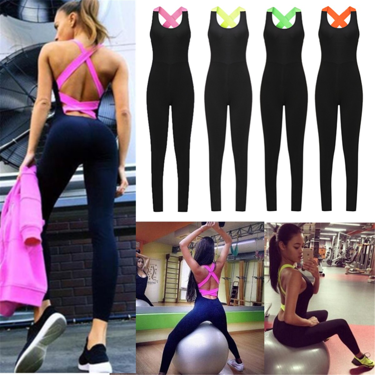 Womens YOGA Workout Gym Sports Pants Leggings Fitness Stretch Jumpsuit Trousers