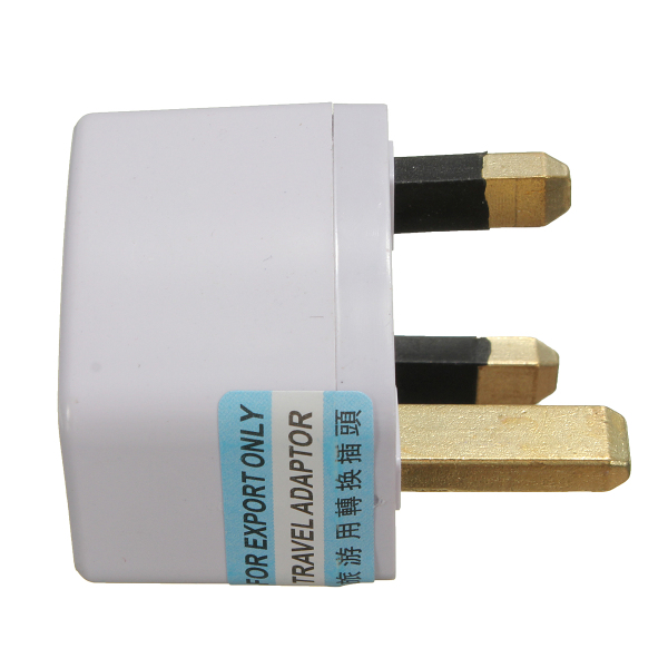 Universal US/EU To UK AC Power Adapter Travel Converter Adapter 3 Pins 110V-240V White