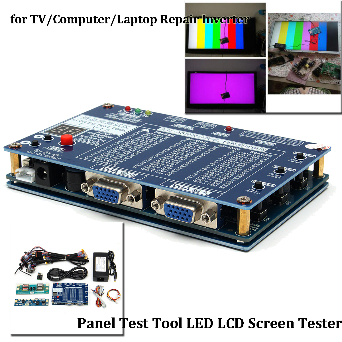 Panel Test Tool LED LCD Screen Tester Inverter Repair For TV/Computer/Laptop