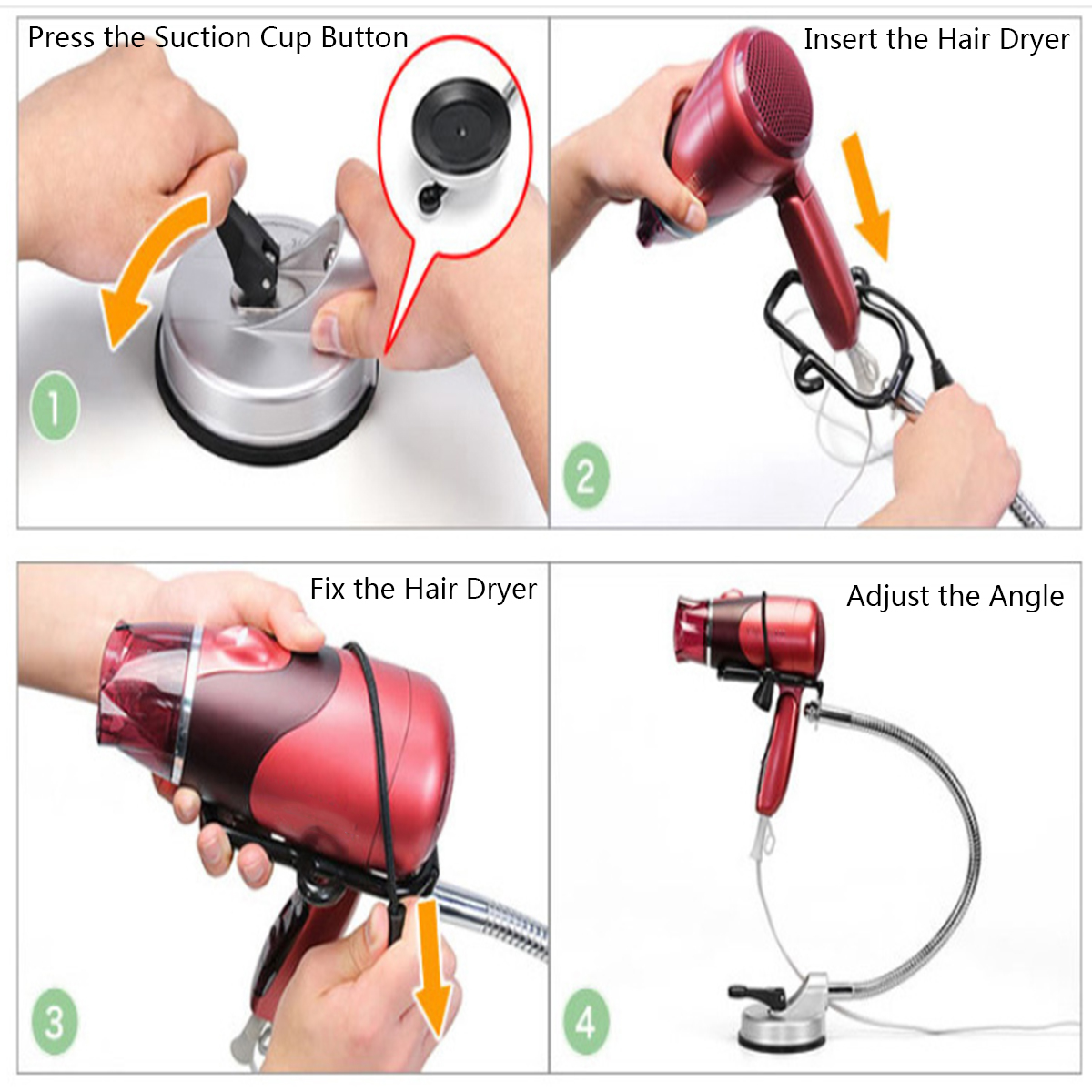 Adjustable Hands Free Hair Dryer Stand Holder 360 Degree Wall Mount with Suction Cup