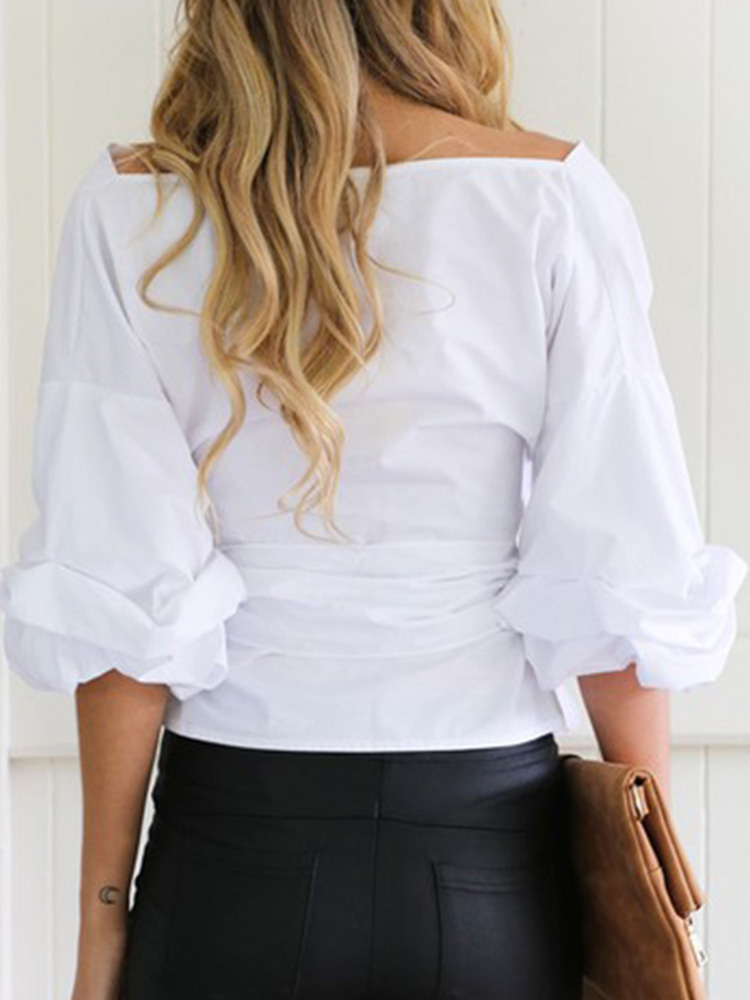 Women Sexy Off Shoulder V-Neck Puff Sleeve Blouse with Bow