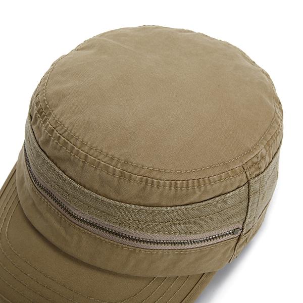 Mens Cotton Zippered Flat Top Hat Outdoor Sport Sunshade Military Baseball Caps