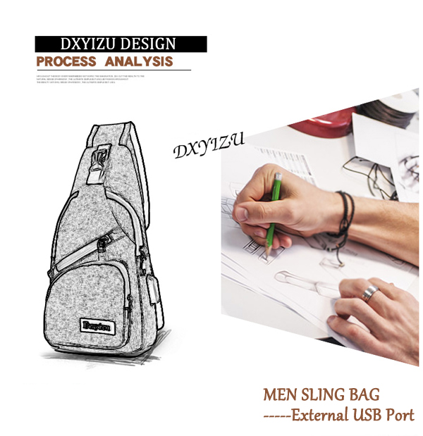 Men Casual Sling Bag Outdoor Travel Chest Shoulder Crossbody Bag with USB Port