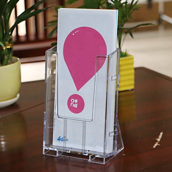 Clear Acrylic Vertical Brochure Stand Holder Tri-fold Pamphlet Display