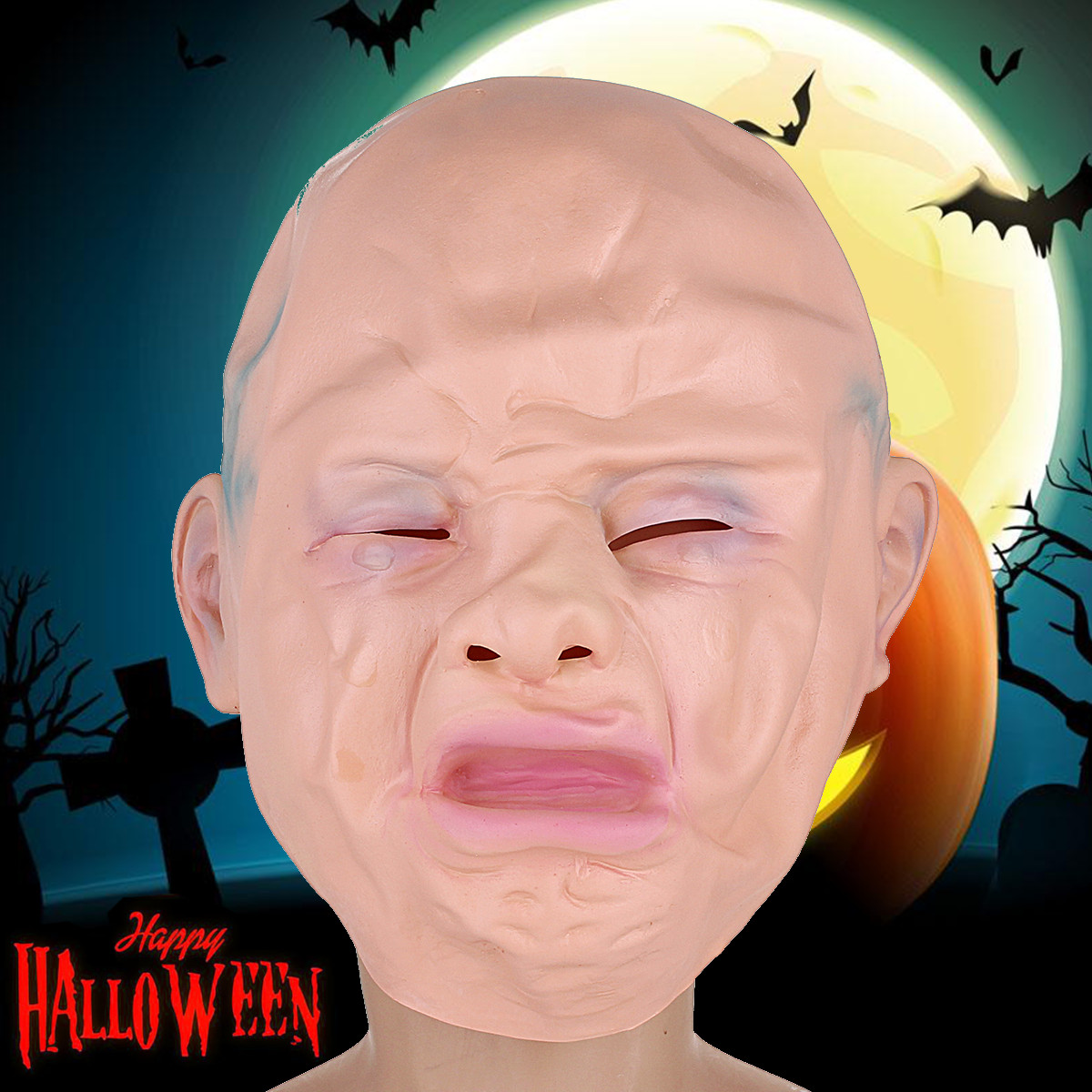Halloween Full Face Mask Cry Latex Cosplay Horror Trick or Treat Costume Prop