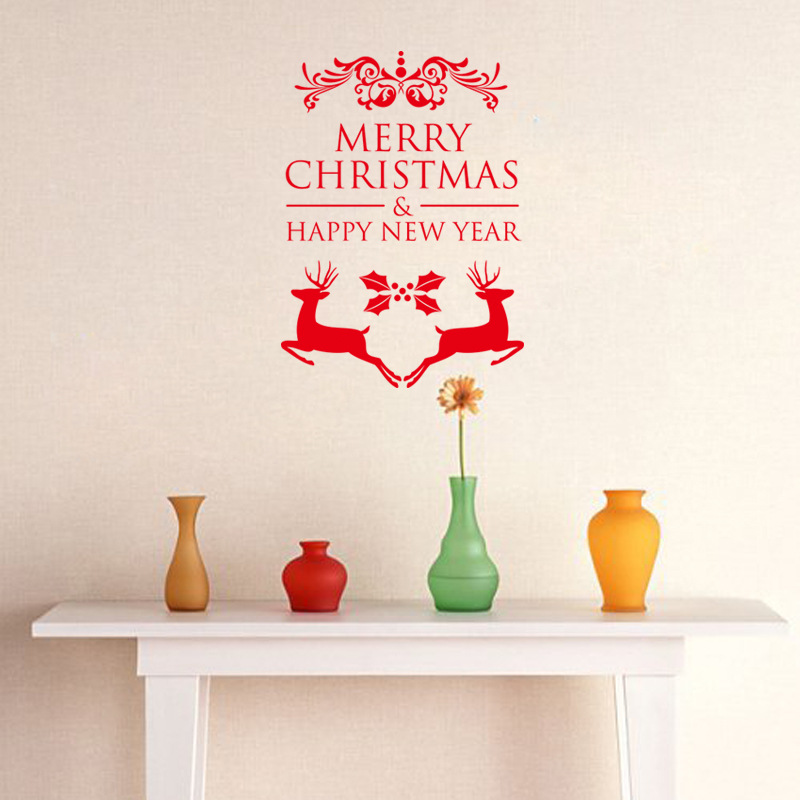 Happy New Year Merry Christmas Run Deer Vinyl Removable Paper Wall Sticker for Kids Room Living Room Bedroom Party Decorations Wall Decal Home Decor PVC Wall Decal