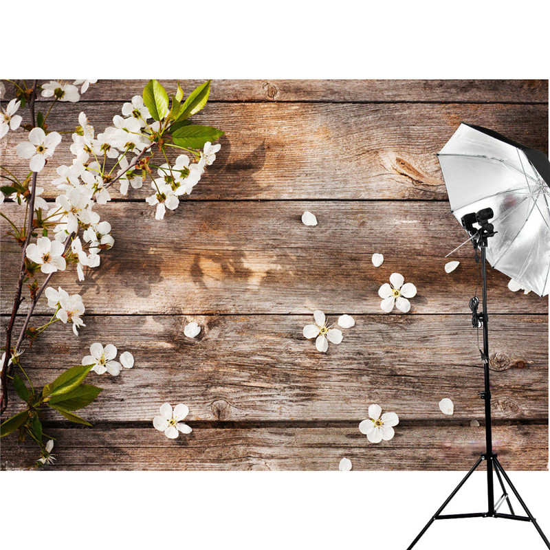 5x3FT Wood Floor Photography Backdrop Attractive Flower Background Studio Props