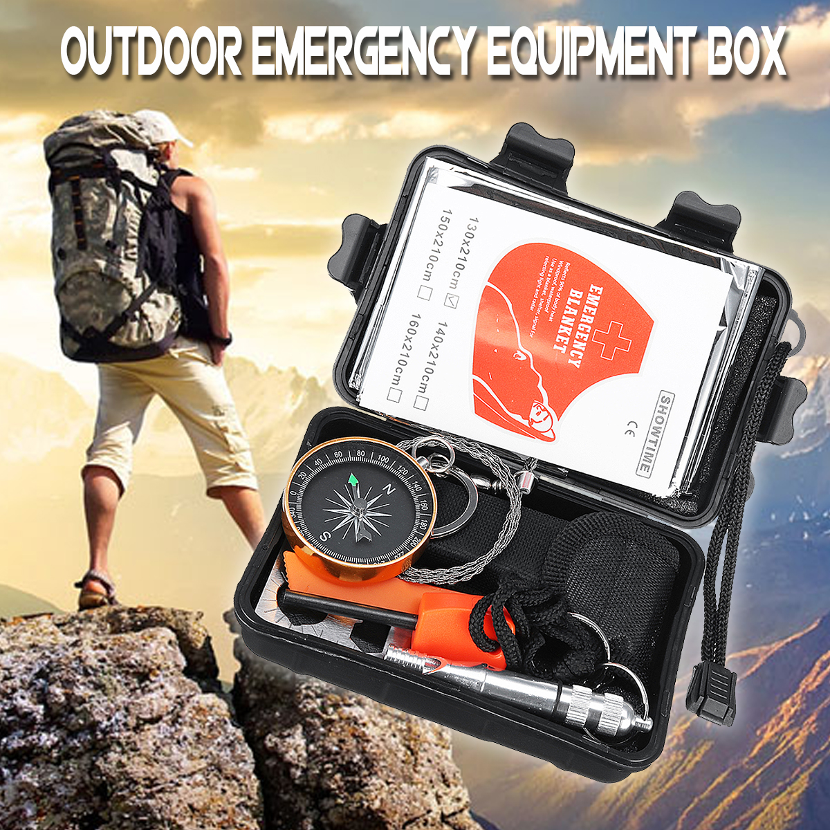 SOS Emergency Survival Equipment Kit Tactical Hunting Gear Tools with Waterproof Storage Box