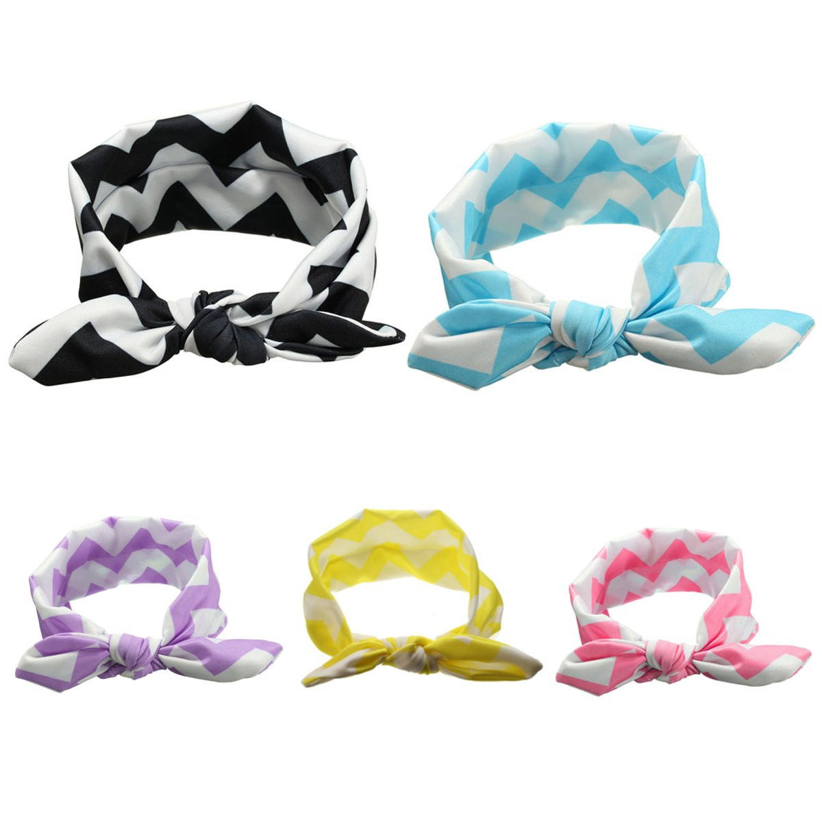 Kids Toddler Headband Cotton Wave Stripe Rabbit Knot Ear Bow Wear Barrettes Headbrands Hair Accessories