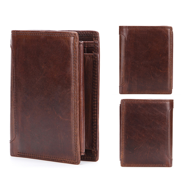 Vintage Genuine Leather Short Zipper Tri-fold Driver License 12 Card Slots Coin Bag Wallet For Men
