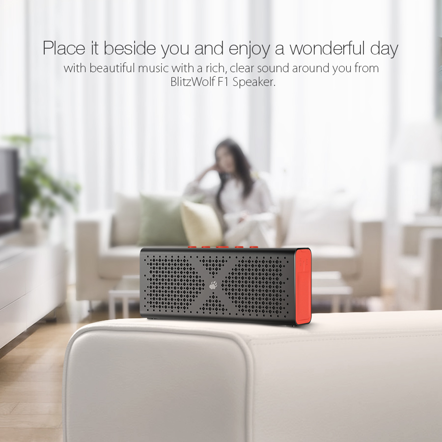 BlitzWolf® F1 IPX4 1800mah Aux-in Hands Free Calls Wireless bluetooth Speaker