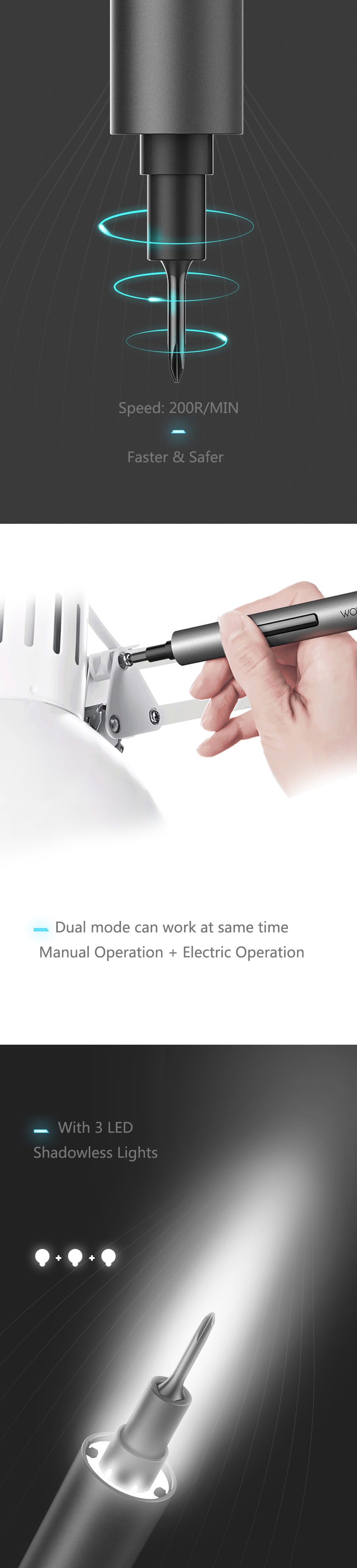 XIAOMI Wowstick 1F+ 64 In 1 Electric Screwdriver Cordless Lithium-ion Charge LED Power Screwdriver