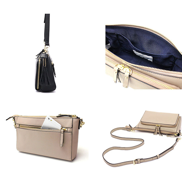 Brenice Women Solid Tassel Faux Leather Crossbody Bag