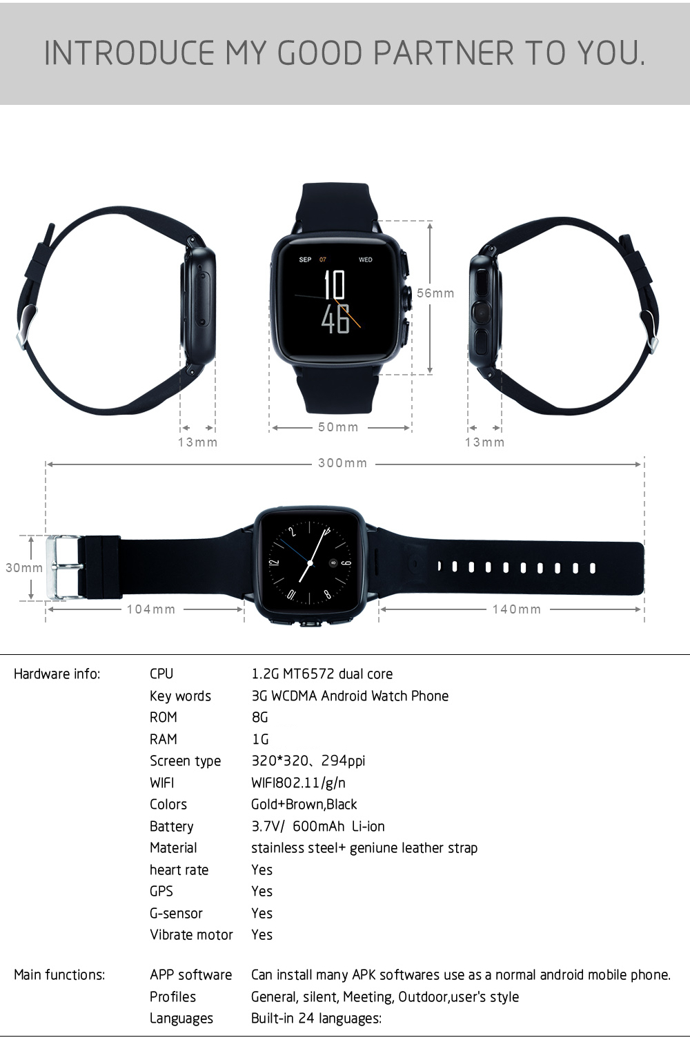 Z01 WIFI 3G WCDMA 500 Million Pixels Camera Android 5.1 GPS Athletic Records Smart Watch