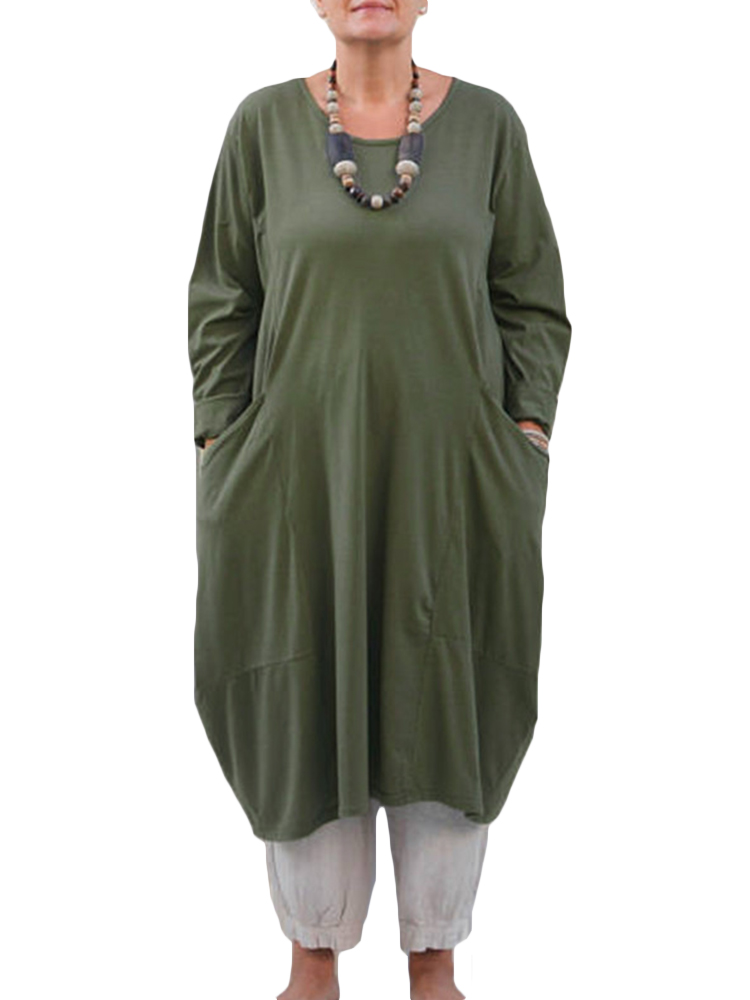 Plus Size M-5XL Long Sleeves Solid Loose Cotton Blouse
