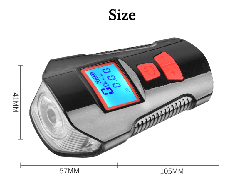 XANES SFL15 3 in 1 800LM T6 Bike Computer Smart Power Display Bike Light with 120db Horn Large Floodlight 1500mAh Battery USB Rechargeable Waterproof
