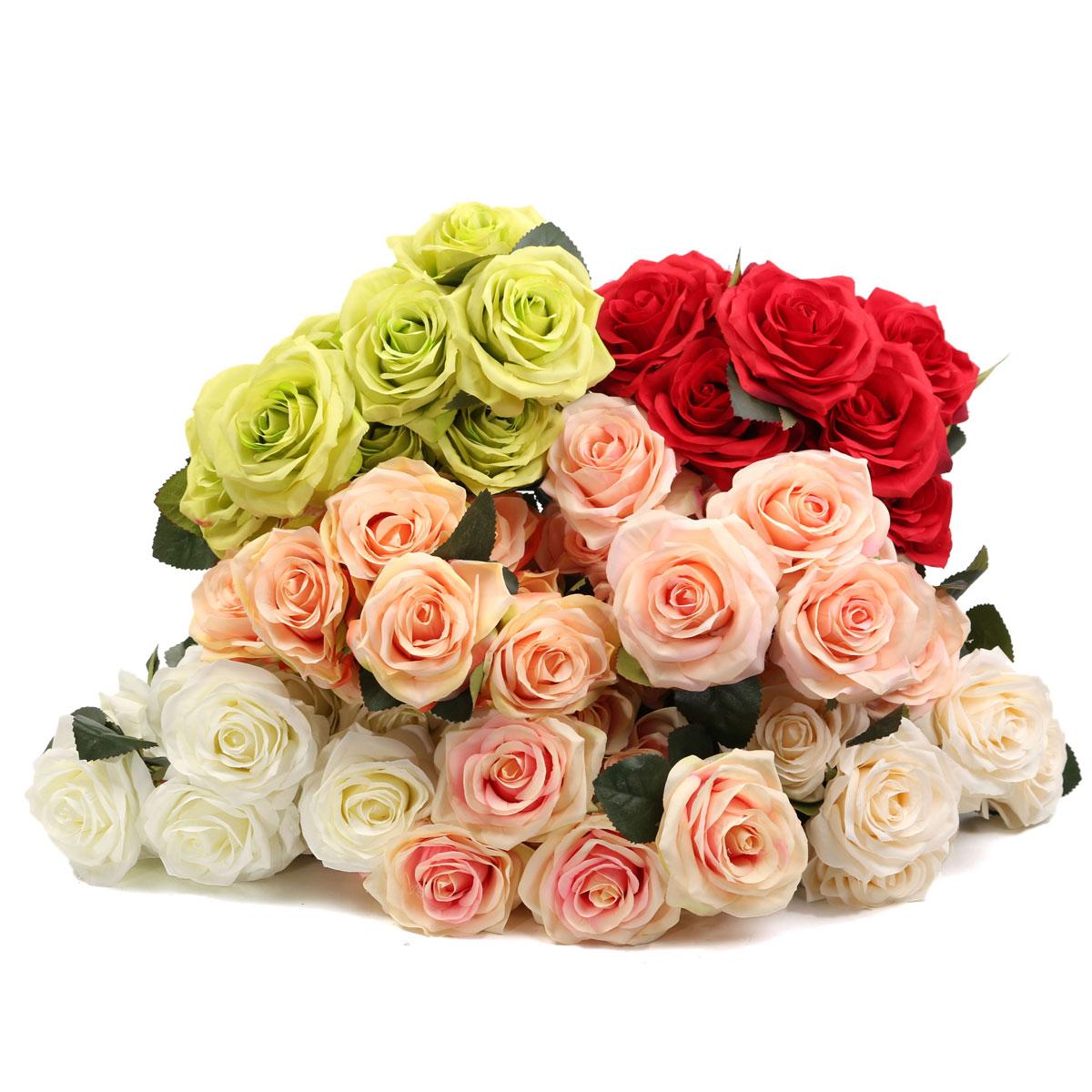 Image of 10 Köpfe der Kunstseide Blumen Rosen Hochzeits Blumenstrauß Partei Hauptdekoration
