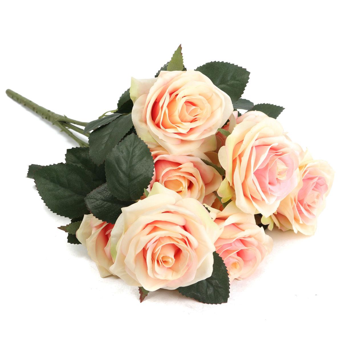 10 Heads Artificial Silk Flower Rose Wedding Bouquet Party Home Decoration