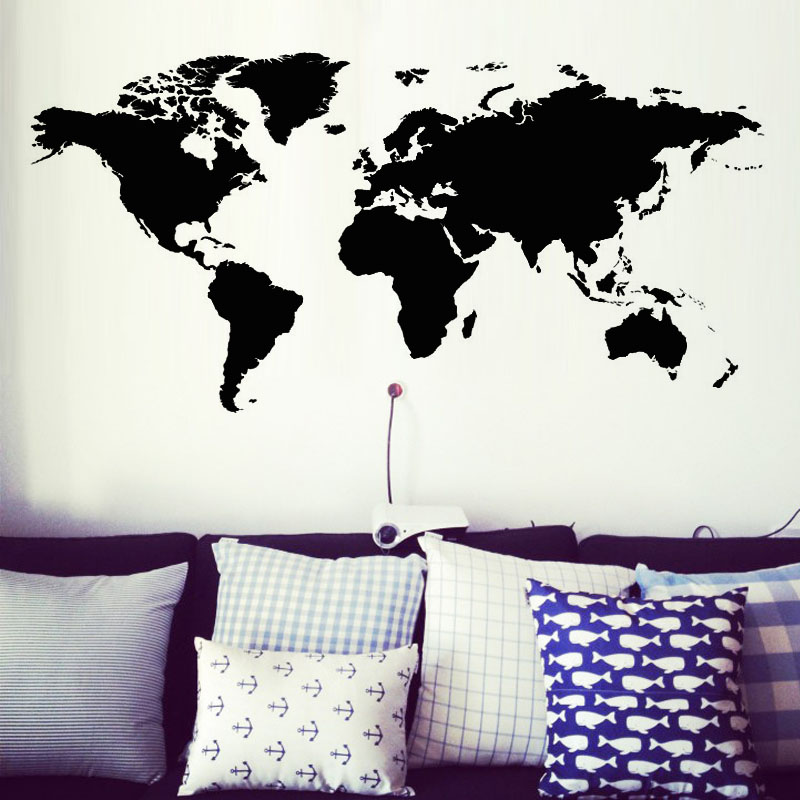 Modern House Removable World Map Wall Sticker Decoration For School Office Wall Decor Design House Decoration For Living Room Hollow Out Wall Decals Home Decor