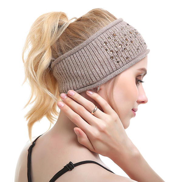 Knitted Strech Warm Beanies Hat Daul Use Scarf Hat